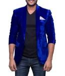 Blue Velvet Blazer With Polo T-Shirt