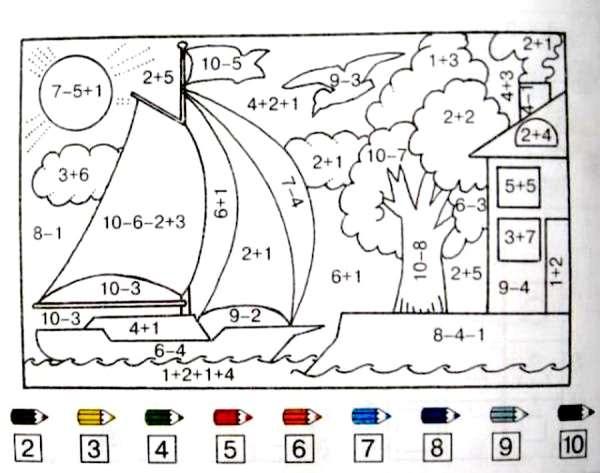 Математическая раскраска- сложение и вычитание