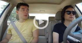 guy lip syncs while mom drives car