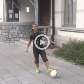 man does flip on soccer ball video