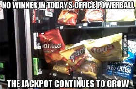 no winner in todays office powerball vending machine meme