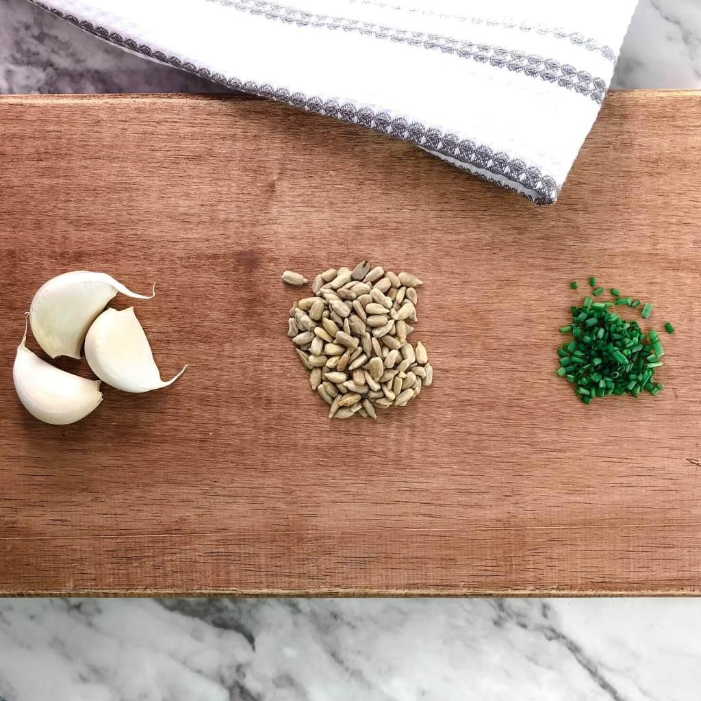 vegan garlic & chive cream cheese recipe prep photo