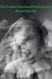 Black and white photo - female head shaking violently and pulling hair - abusive relationships feel like this