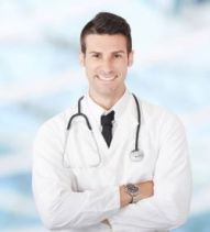Male Doctor, white scrubs and stethoscope