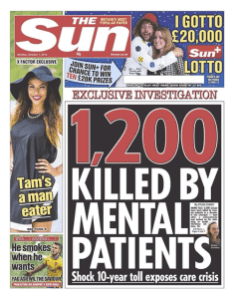 Unhelpful impression that mental illness causes violent behaviour.