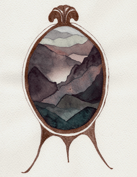 drawing of a mirror with a rocky landscape