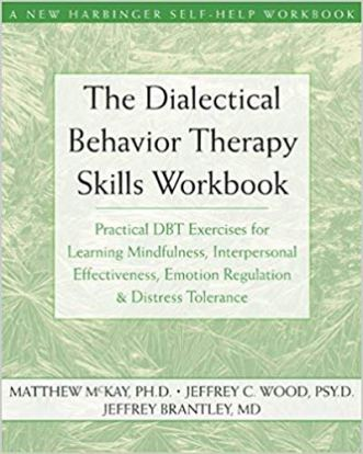 book cover: The Dialectical Behavior Therapy Skills Workbook by Matthew McKay, Jeffrey C. Wood, and Jeffrey Brantley