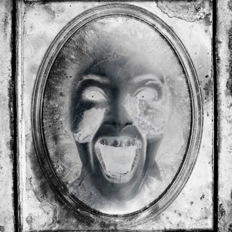 distorted sketch of a face in a mirror screaming