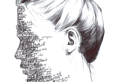 drawing of woman's face covered in scribbled text