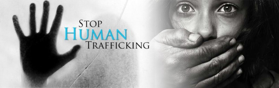 Stop human trafficking - image of a woman with a hand held over her mouth