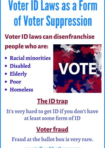 Voter ID laws as a form of voter suppression by disenfranchising marginalized populations