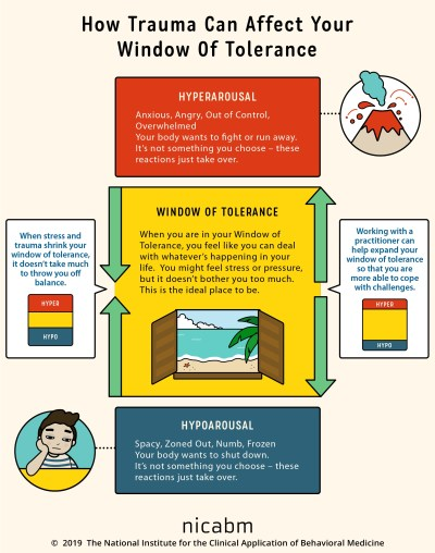 The window of tolerance, with hyperarousal and hypoarousal on either side