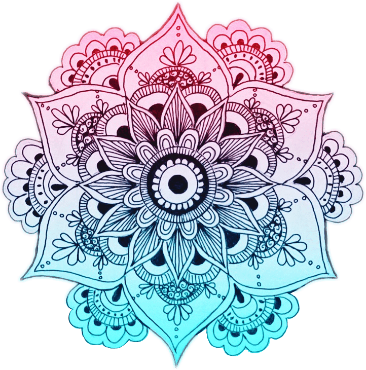 mandala coloured in pink and blue