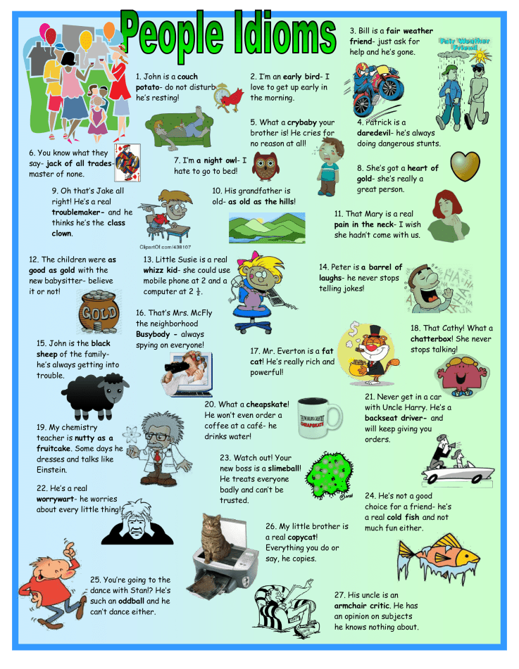 an assortment of idioms for describing people