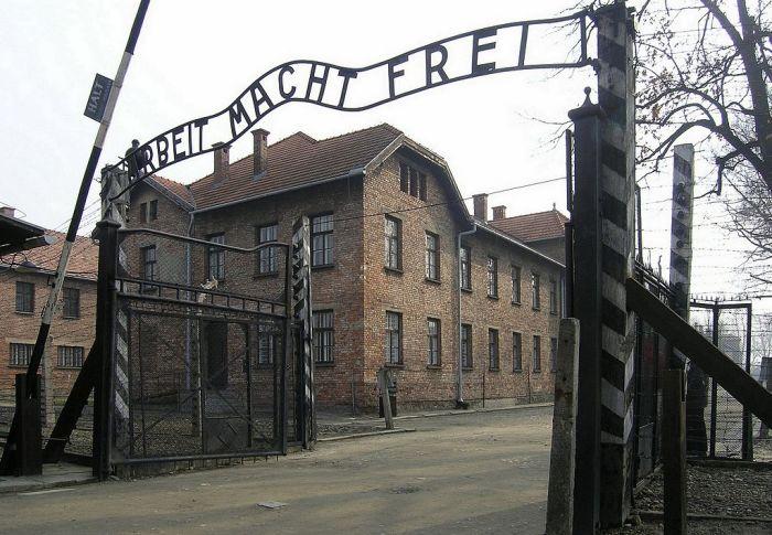 Arbeit macht frei sign at the gate to Auschwitz