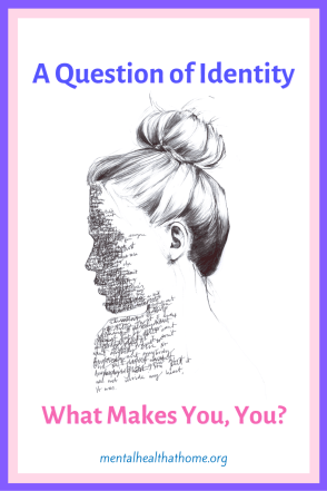 A question of identity: what makes you, you? - graphic of woman's face with writing on iti