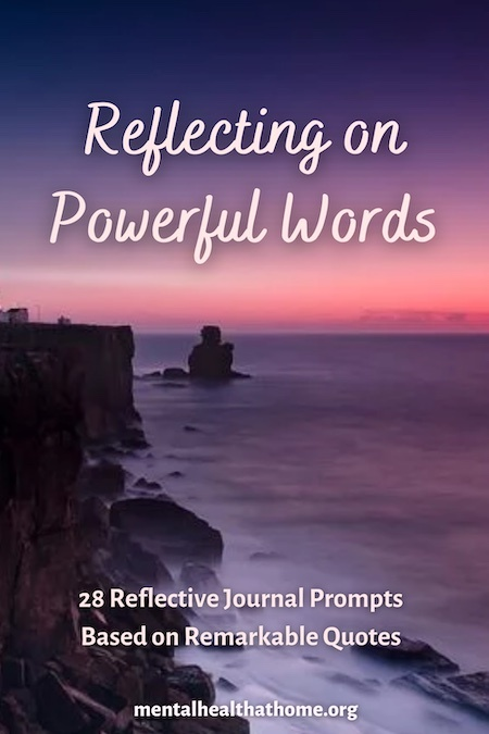 Reflecting on powerful words guided journal from Mental Health @ Home