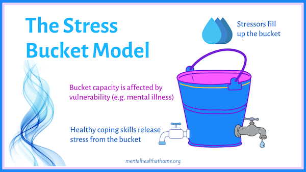 The stress bucket model, with stress coming in the top of the bucket and taps releasing it from the bottom
