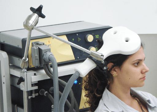 transcranial magnetic stimulation patient setup