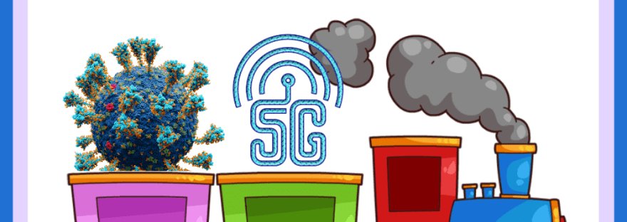 The Bizarre Spread of the COVID/5G conspiracy theory: cartoon of a train pulling a coronavirus particle and 5G symbol