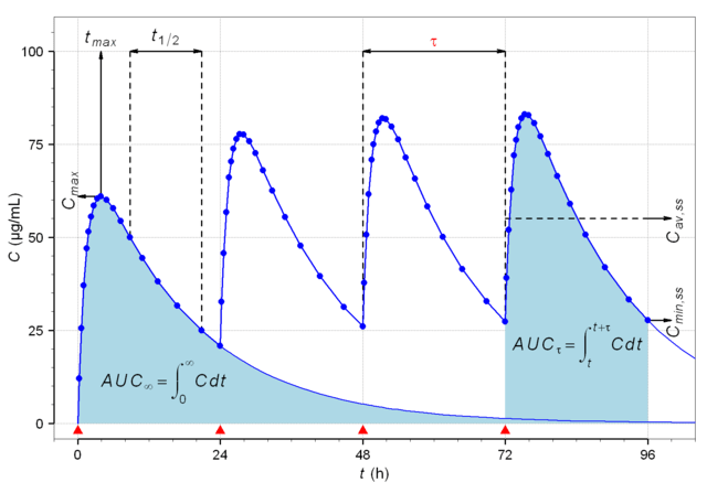 A graph demonstrating plasma concentration and steady state