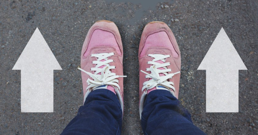 pink shoes with arrows next to them