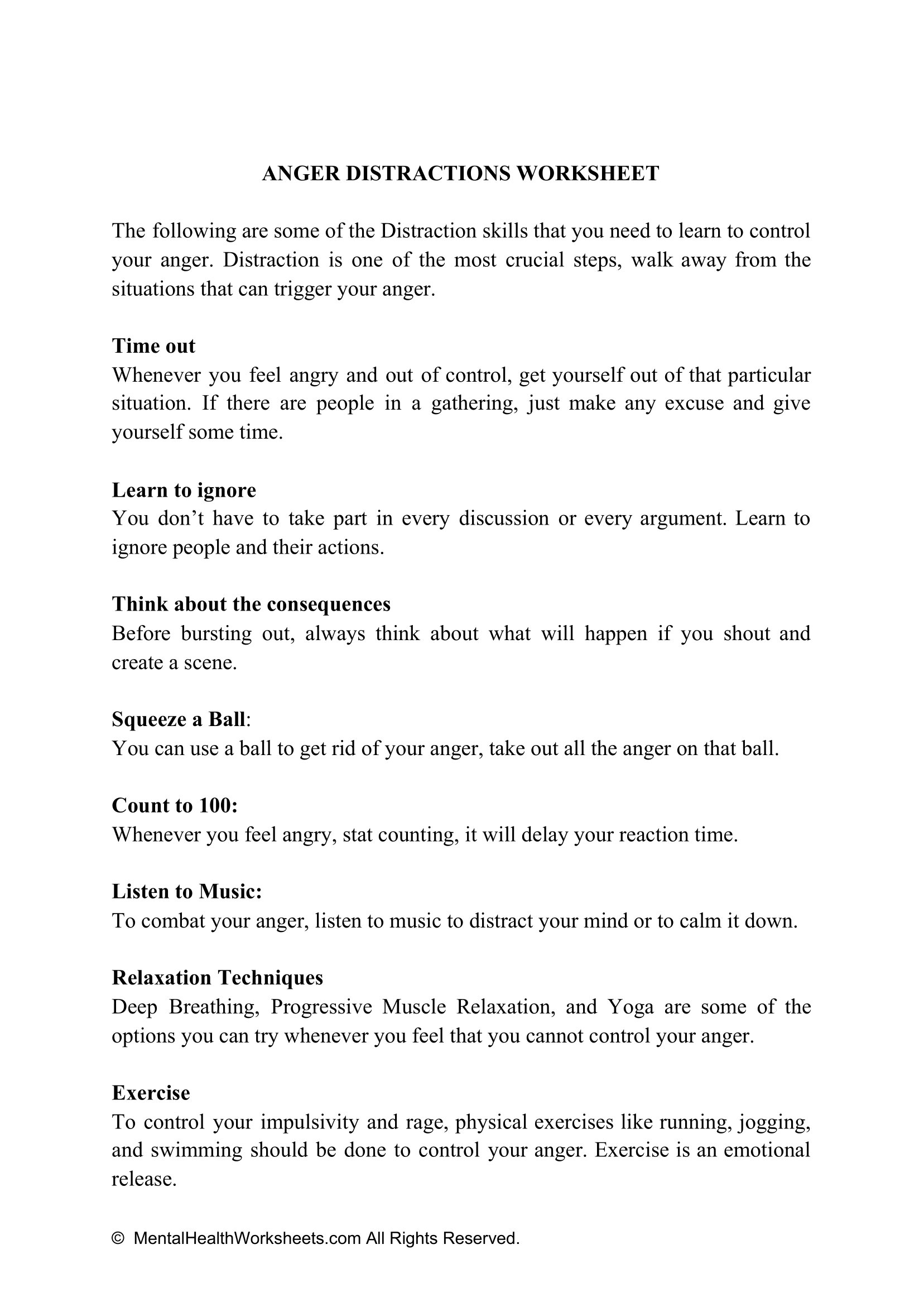 Anger Distractions Worksheet