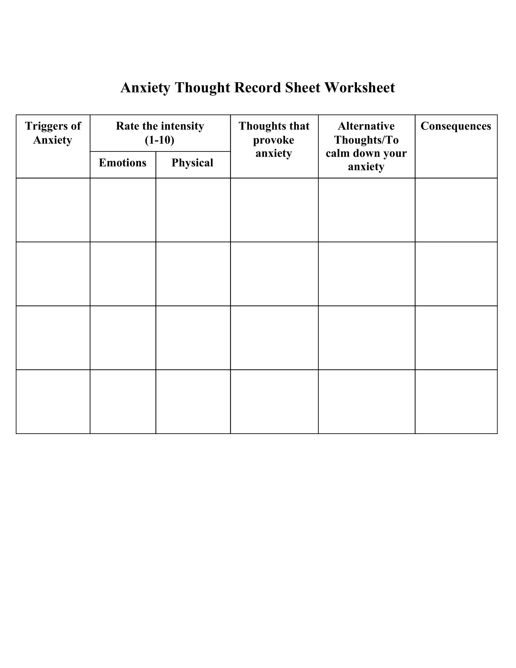 Anxiety Thought Record Sheet Worksheet