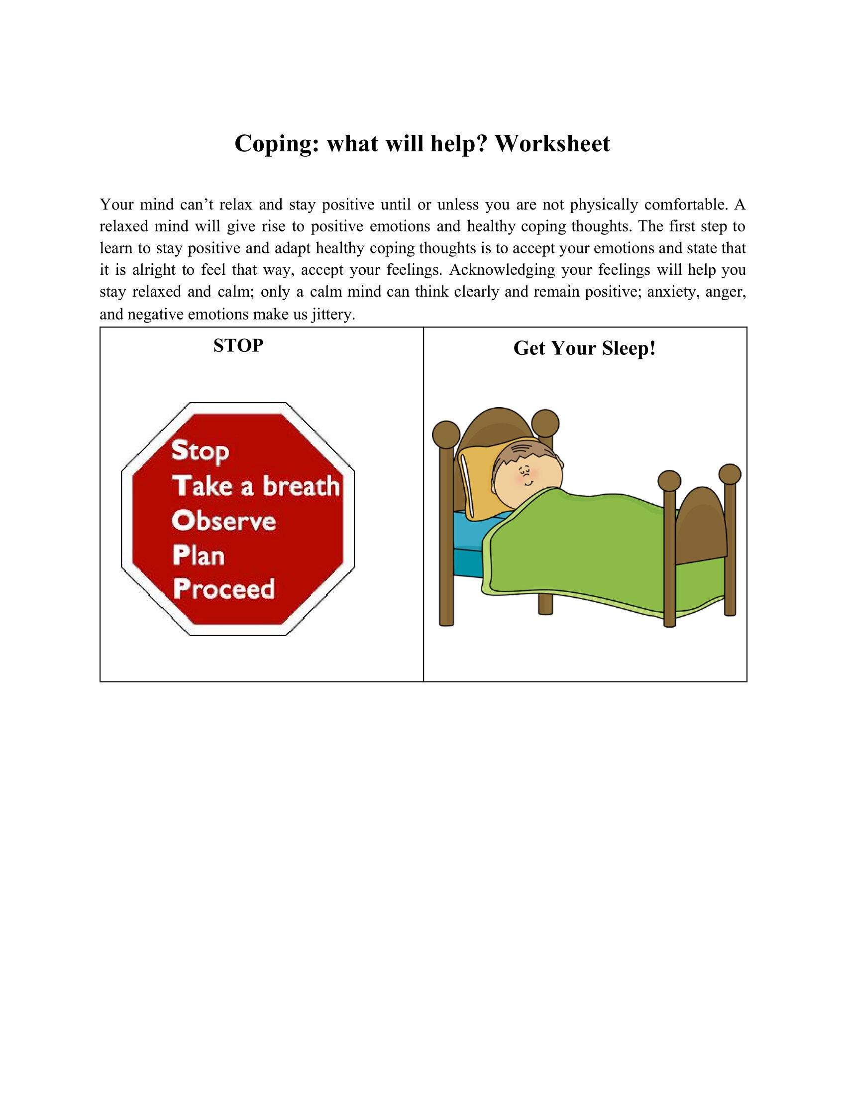 Coping What Will Help Worksheet