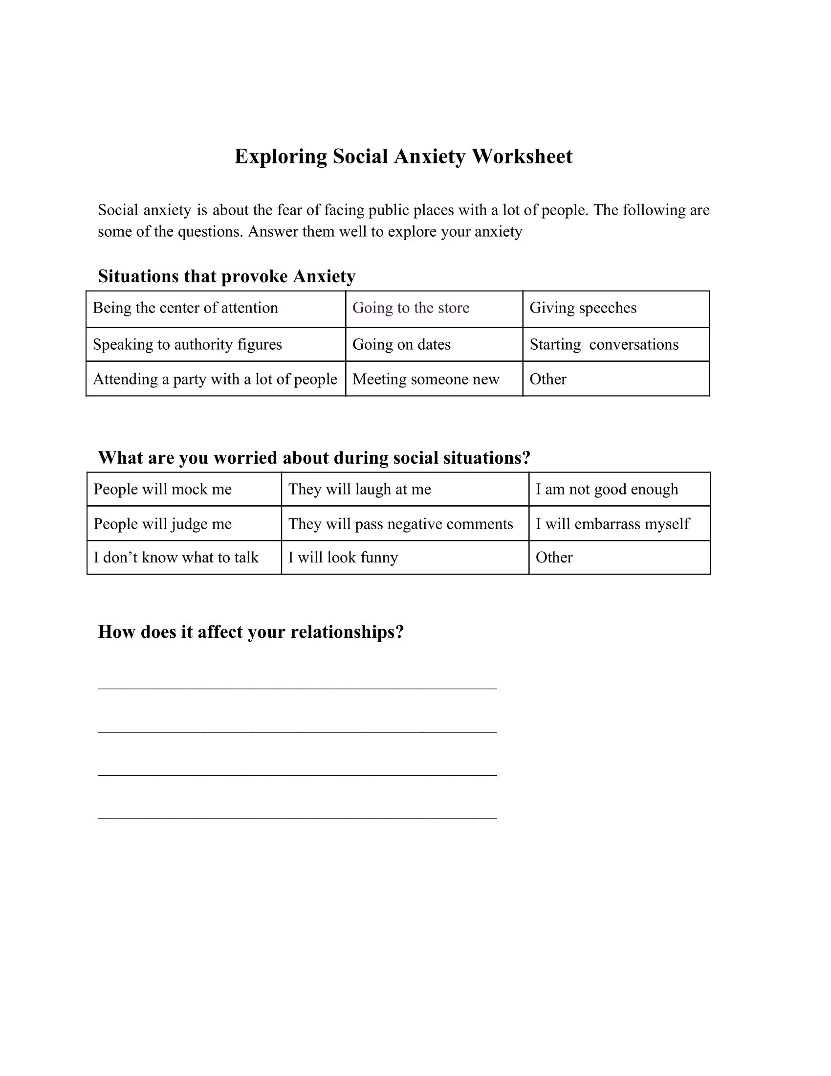 Anxiety Triggers Worksheets
