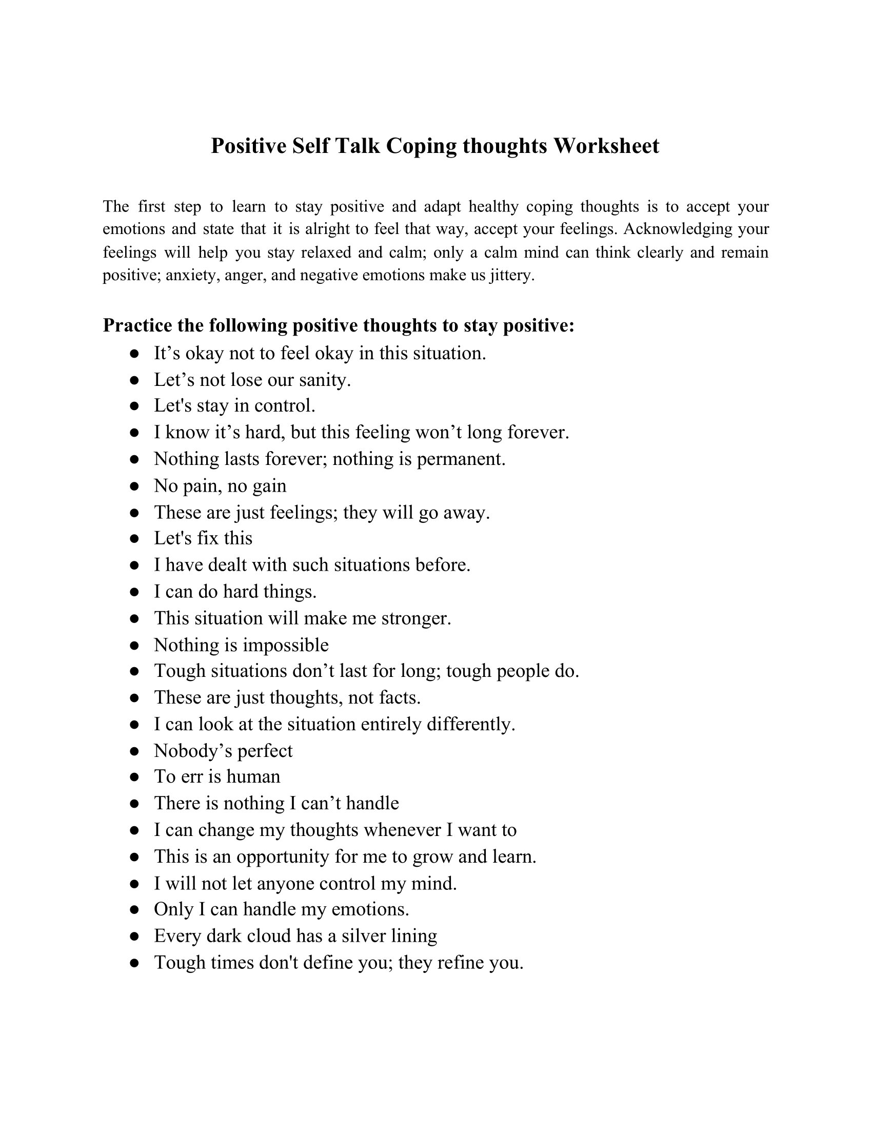 Positive Self Talk Coping Thoughts Worksheet