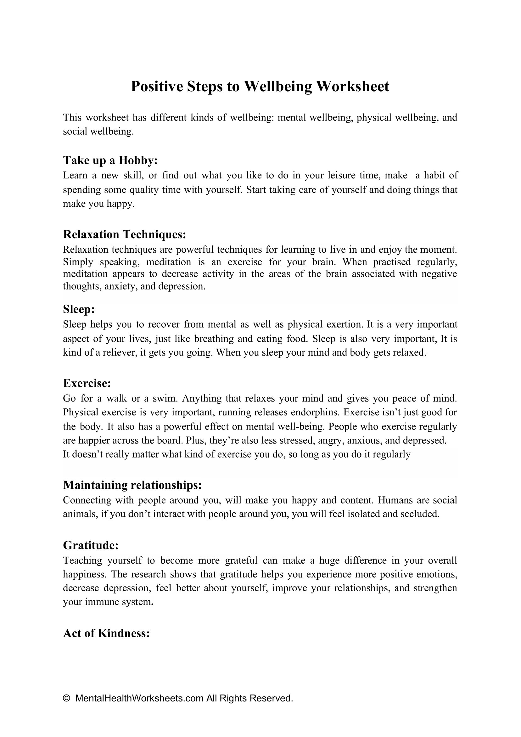 Positive Steps To Wellbeing Worksheet