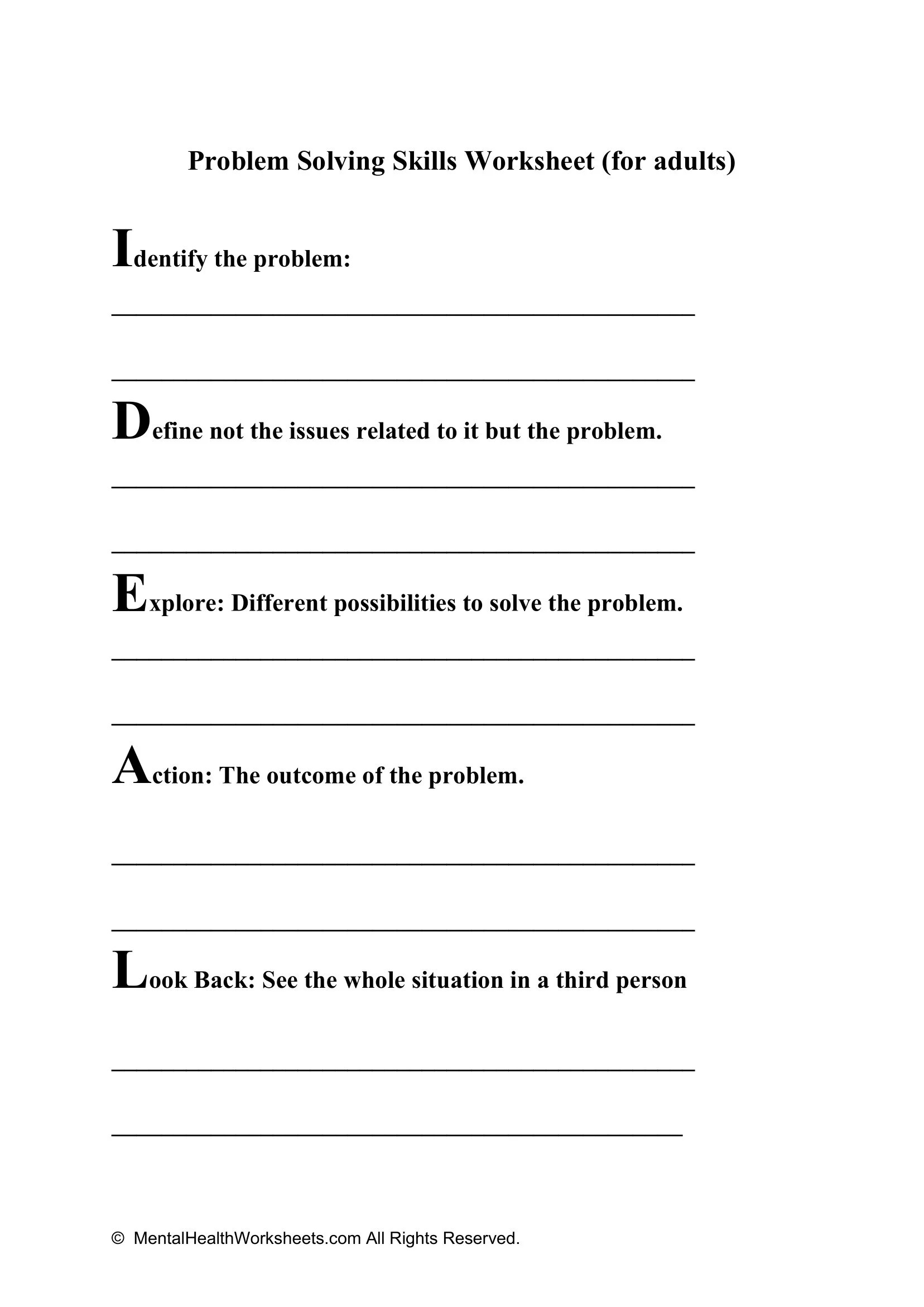 Problem Solving Skills Worksheet For Adults