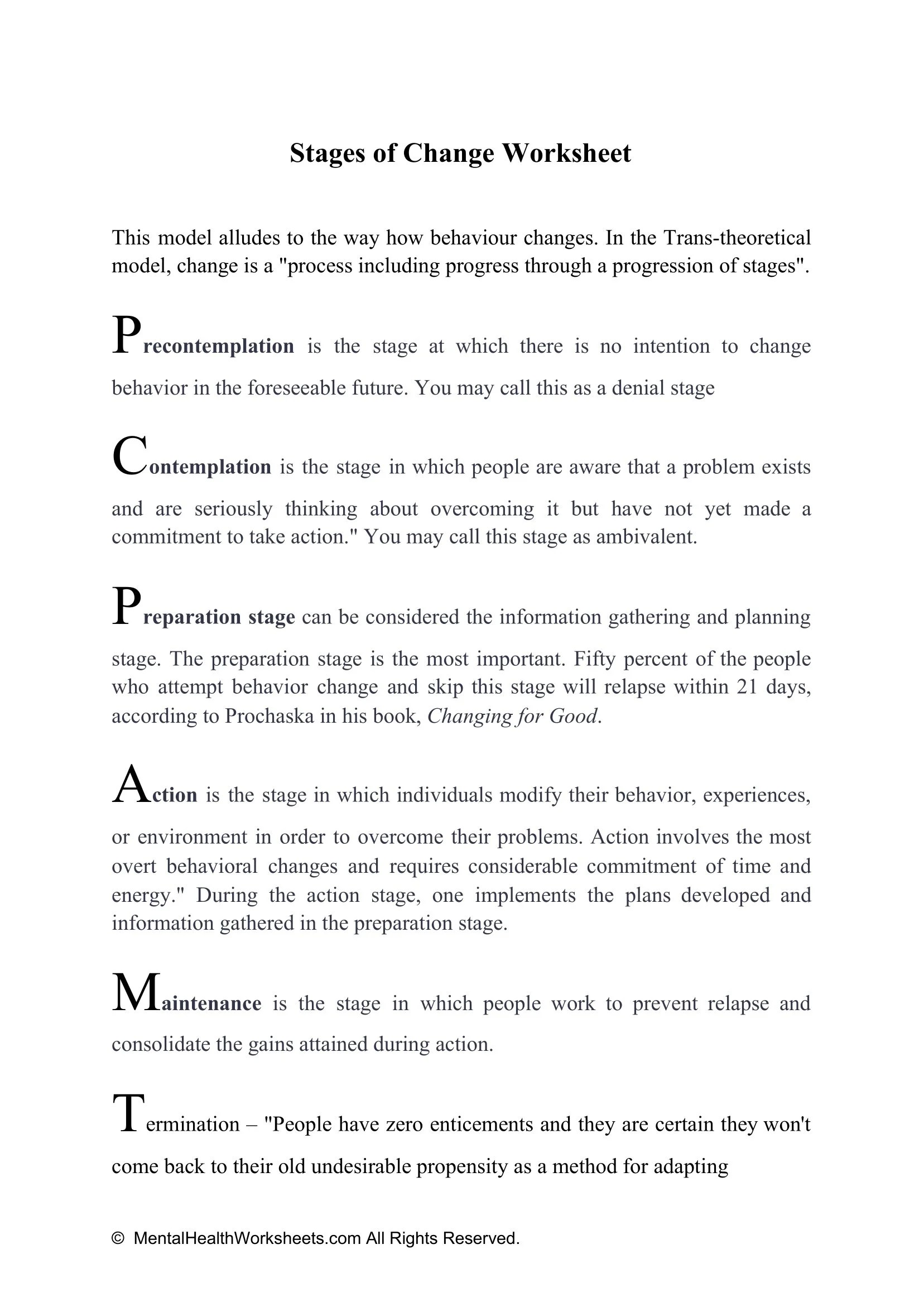 Stages Of Change Worksheets