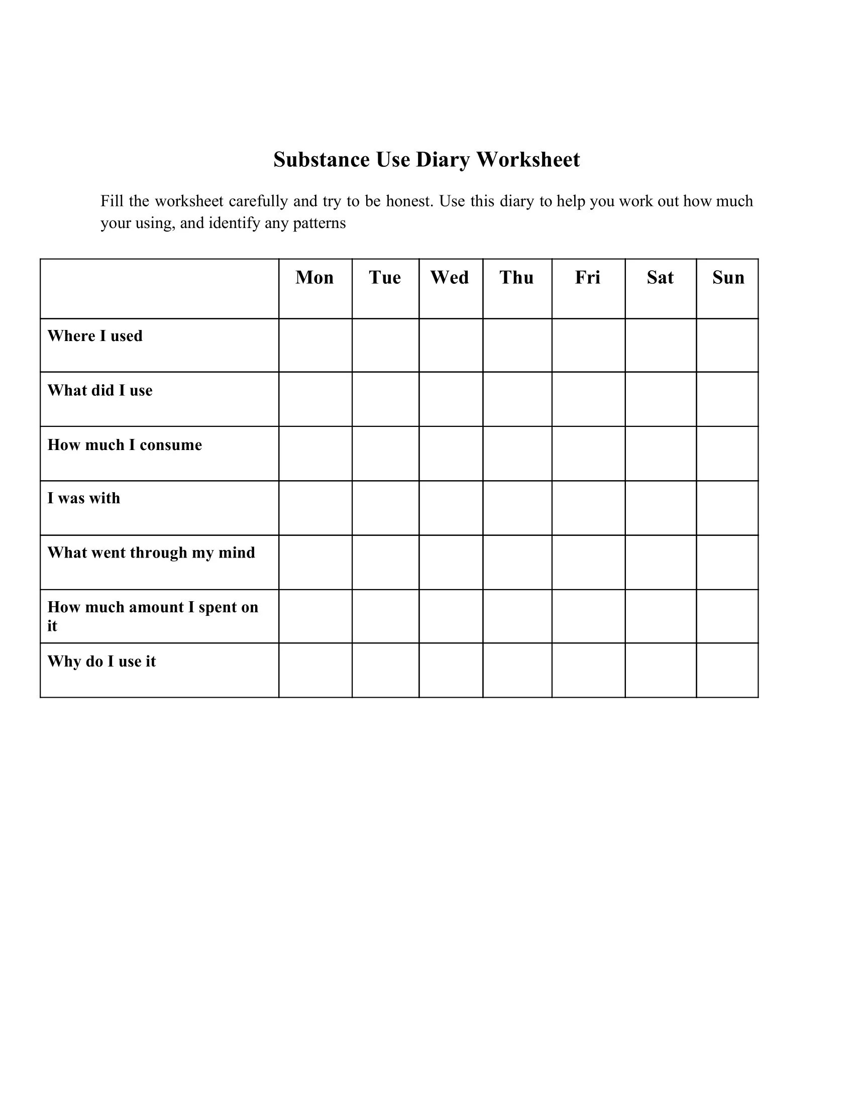 Substance Use Diary Worksheet