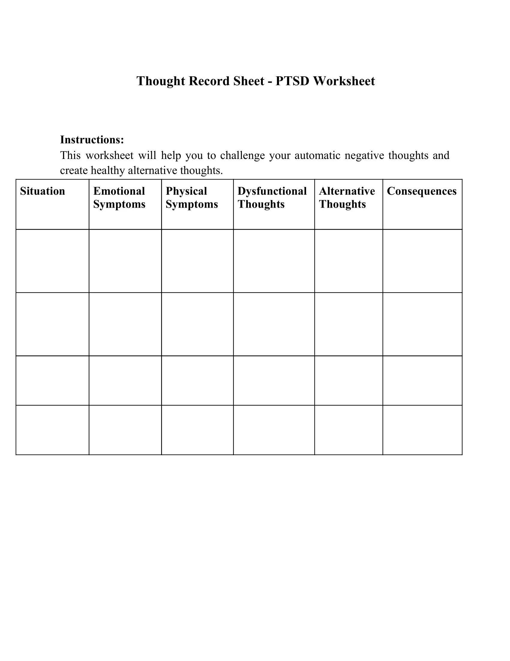 Thought Record Sheet