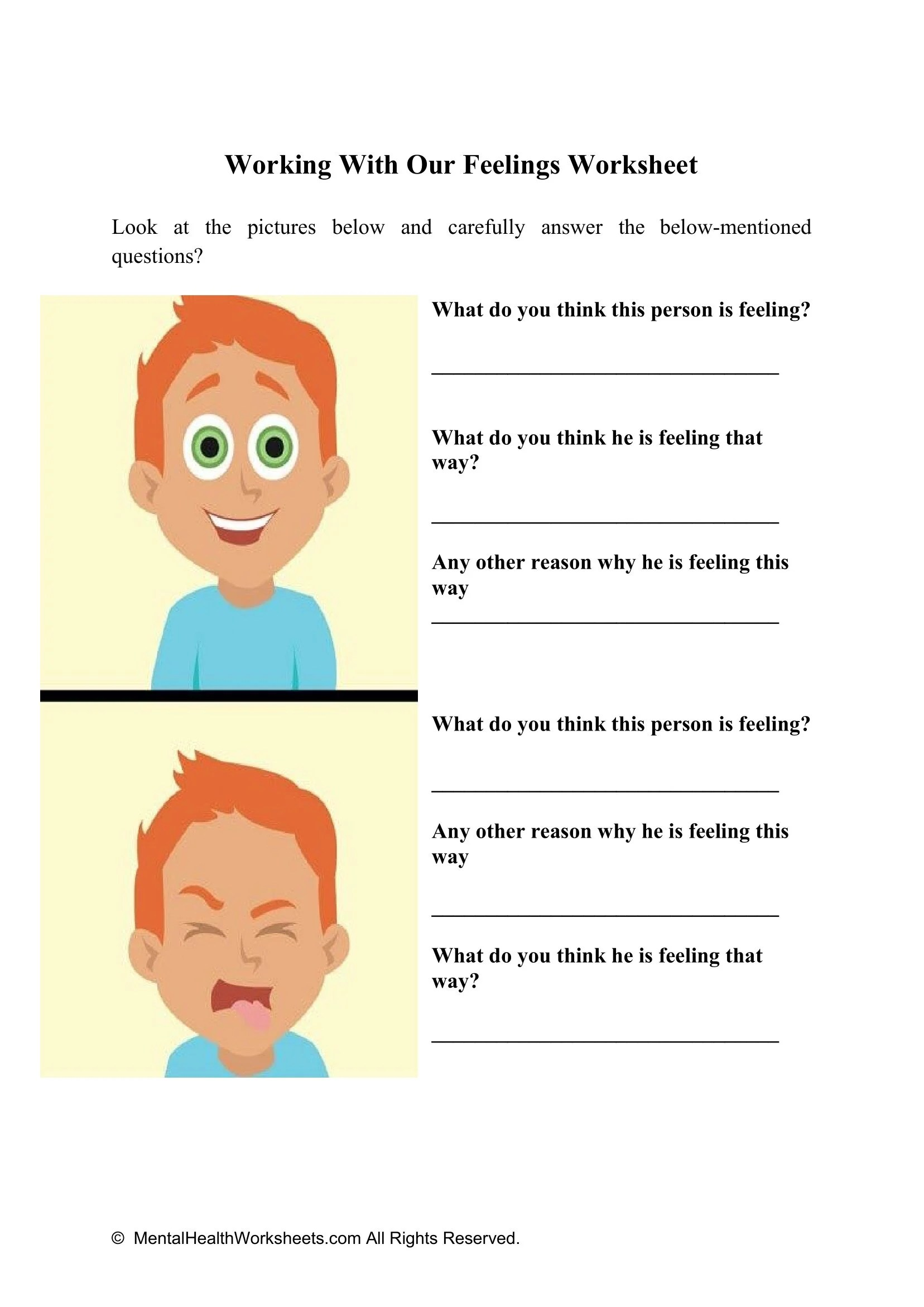 Working With Our Feelings Worksheet 2