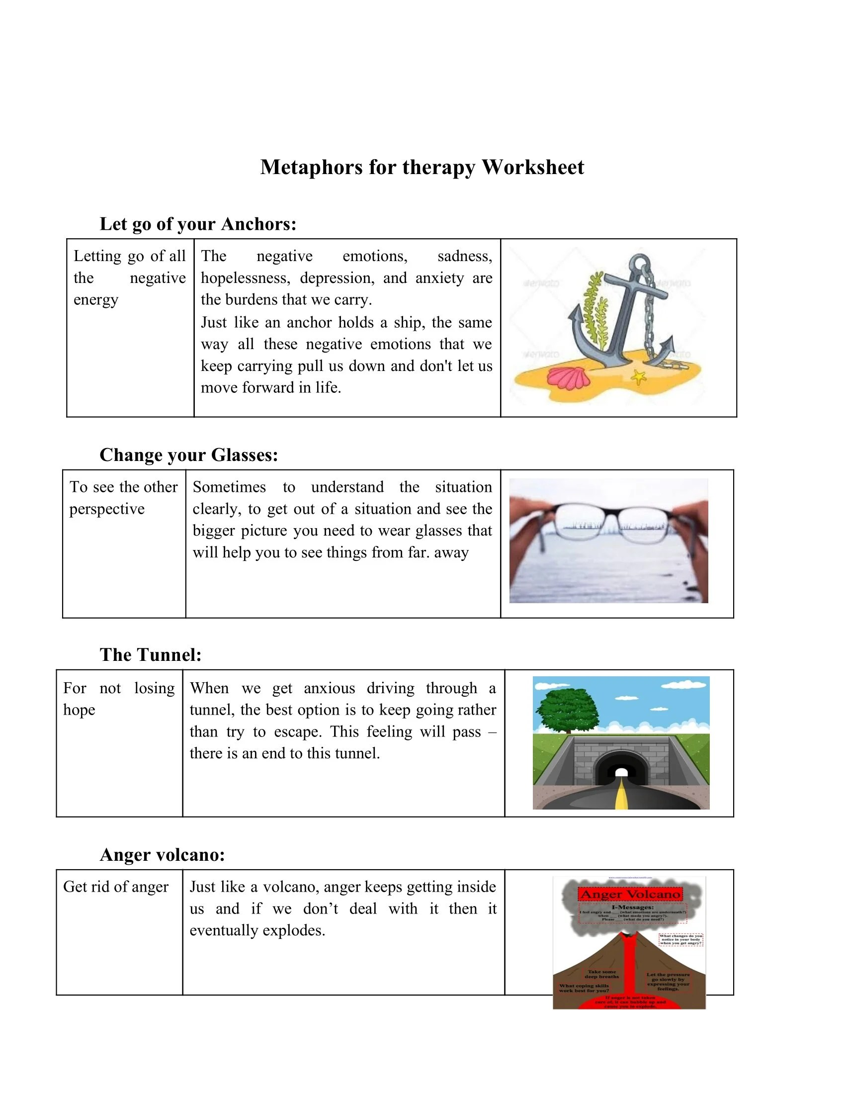 Metaphors For Therapy Worksheet