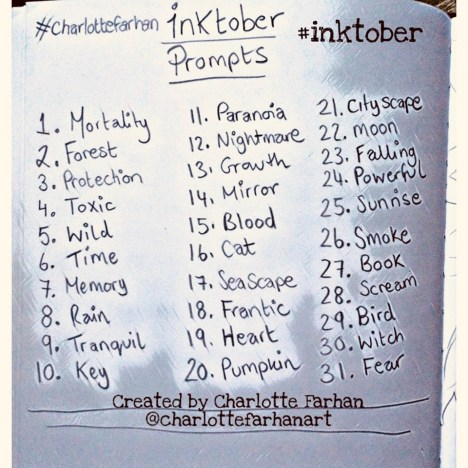 Inktober Prompts - Charlotte Farhan