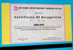 HKK Top Fundraiser for Bethune House!