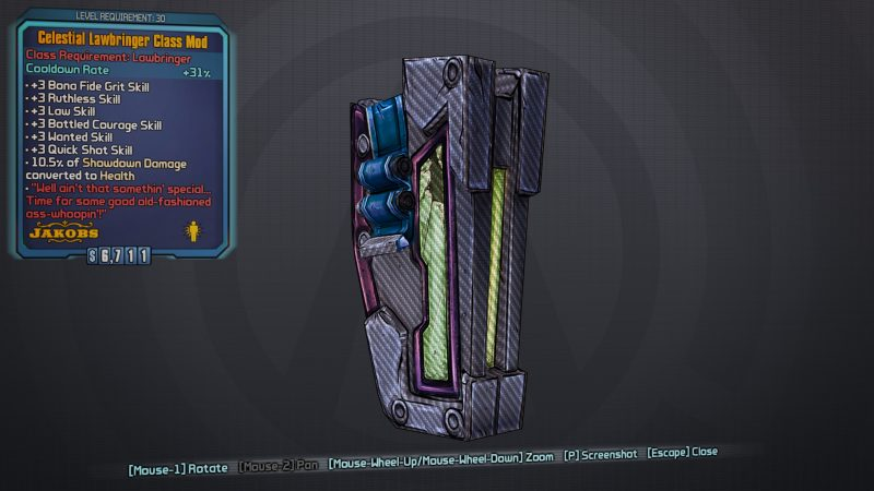 BLTPS Legendary Class Mod - Celestial Lawbringer
