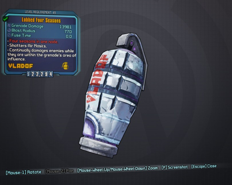 BLTPS Legendary Grenade Mod - Four Seasons