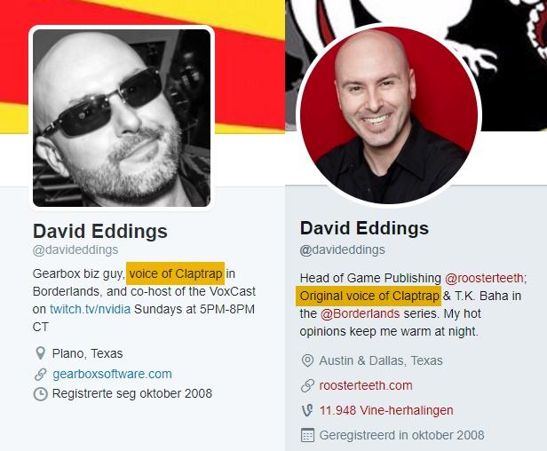 David Eddings Voice of Claptrap