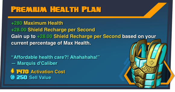 Premium Health Plan - Battleborn Legendary Gear