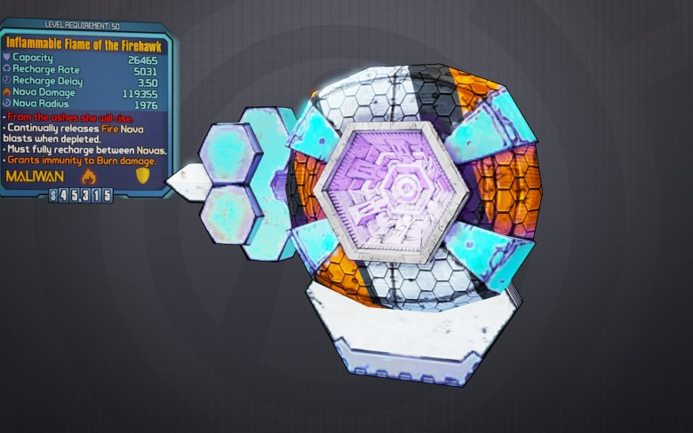 Legendary Flame of the Firehawk Shield - Borderlands 2