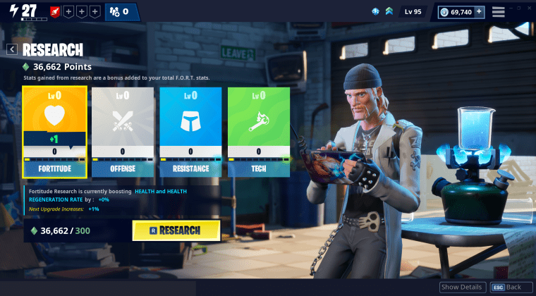 Fortnite new research screen