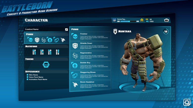 A character profile screen showcasing the players perks, mutators, skin, taunt, and voice pack.