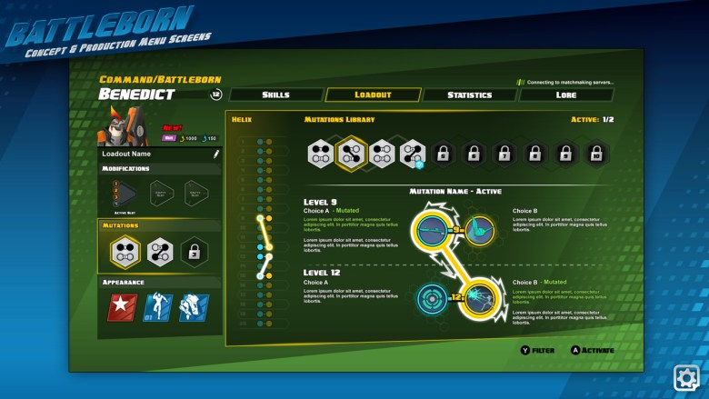 A character command screen. You can see that the helix skill tree went all the way up to level 20 back then. This was later reduced to level 10 as you would be spending to much time navigating your helix instead of playing the game. During the Cooprative Gameplay Demonstration you can see it still went up to level 15. You can see the various loadouts on the left but most interesting is the mutators. It looks like some of them link certain skills. Not sure what this does, you might unlock a chain of skills if you have the specific mutators equipped? Maybe skip levels to gain more power but miss out on a few perks?