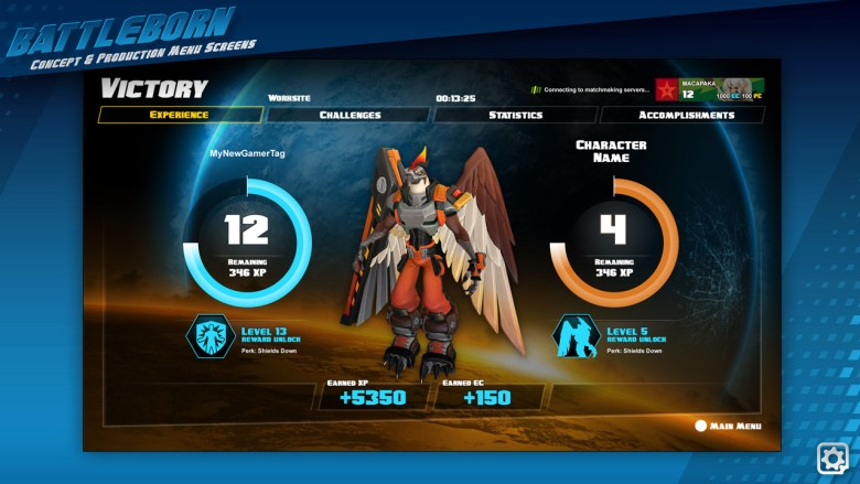 A victory screen showcasing your progression. Character and Command rank unlocked a 'shield down' perk.