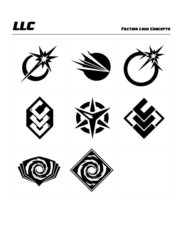 LLC Faction Concept Logos by Michael Paskar